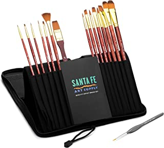 Paint Brush Set W/Carrying Case-Organizer - 15 + 1 Professional Grade Wood Paintbrush Kit Perfect for Watercolor, Oil, Inking, Face, Creative Painting Art Brushes & Craft Supplies for Artists