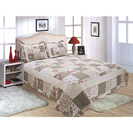 All For You 3pc Reversible Quilt Set Bedspread Coverlet Set 100 Cotton Patchwork Print Flower King Home Kitchen