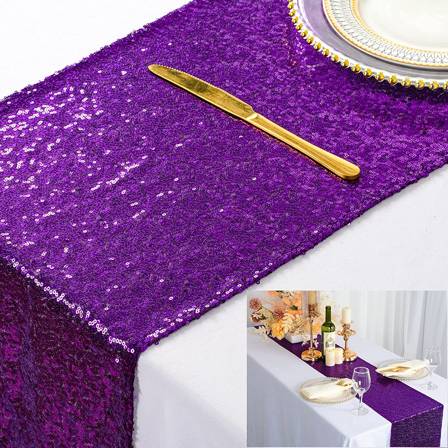 Sequin Luxury goods Table Runners 10PCs 12x72 Glitter Purple For San Diego Mall Cover