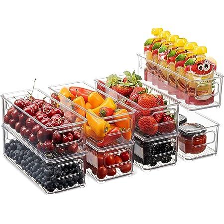 Juego de 8 cubos apilables de plástico para almacenamiento de alimentos – Organizador de refrigerador con asas para despensa, nevera, congelador, cocina, encimeras, gabinetes, plástico transparente sin BPA .