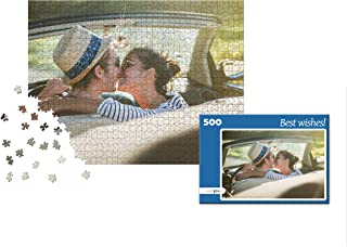 puzzleYOU Photo Puzzle with 500 Pieces: Custom Puzzle with Your Image and an Individual give-Away Puzzle Box (Blue)