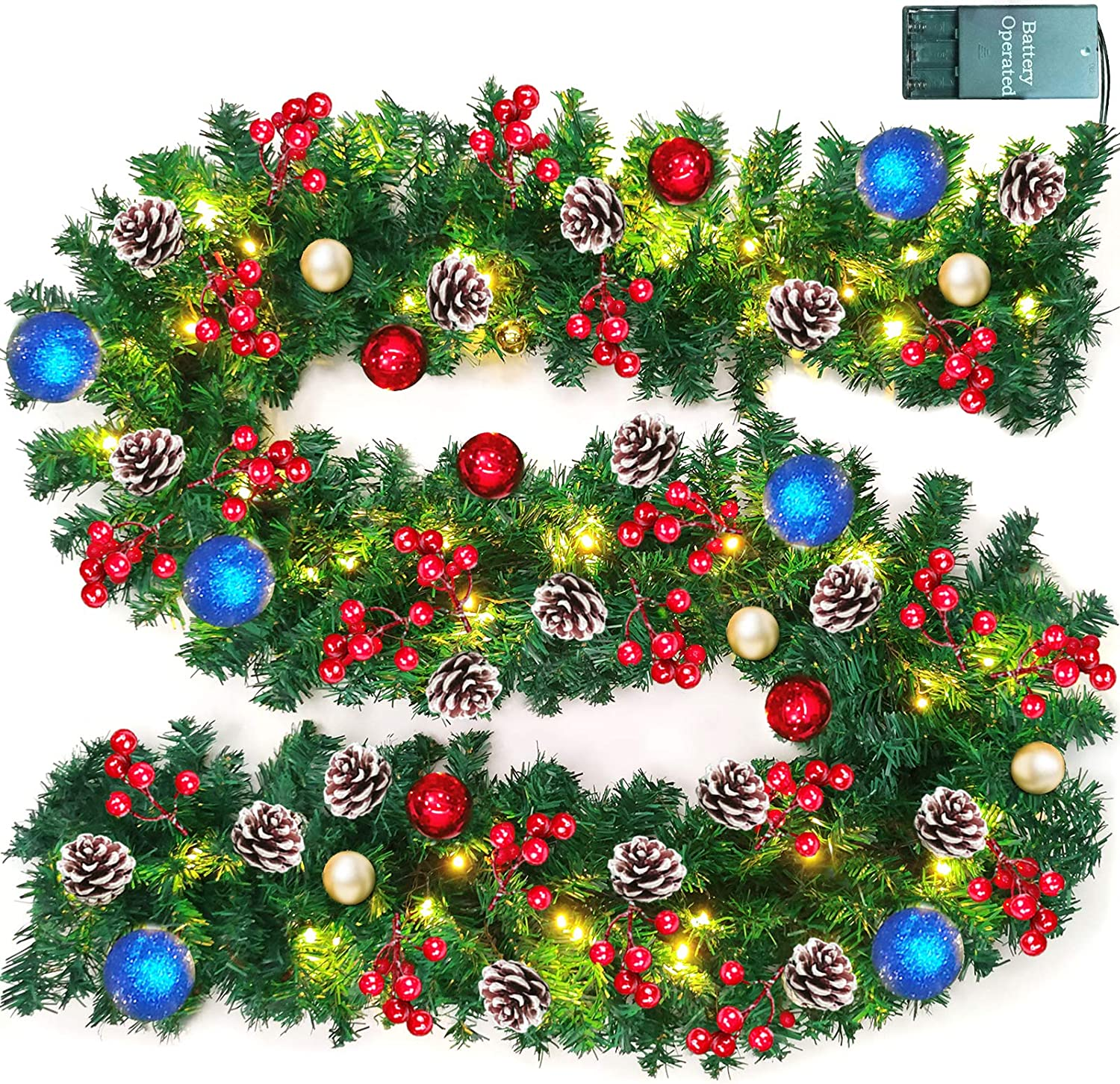 TURNMEON 9 FT Christmas Garland Decor Directly managed Outlet SALE store Lights Glitter O Ball with