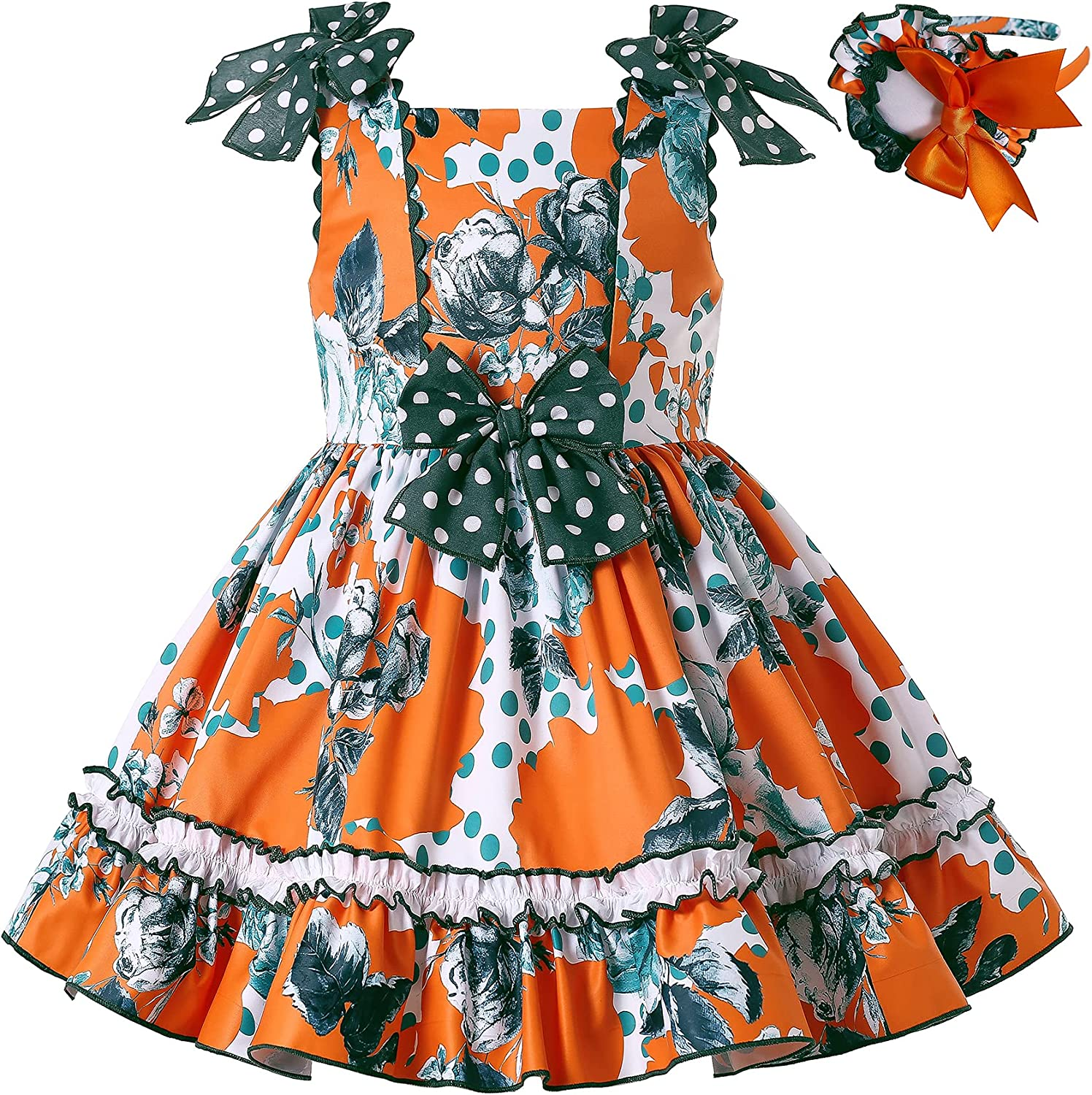 Pettigirl Girls Elegant Floral Sleeveless Skirts Clothing Set Toddler Cute Casual Dresses with Headpiece