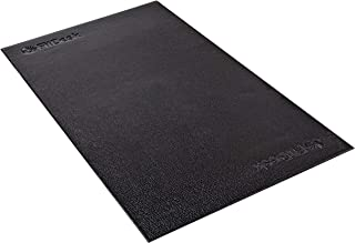 FitDesk Protective Floor Mat - High Density PVC Construction Material for Heavy Equipment like Bikes - No Bleeding on Carpets - Lightweight and Easy to Roll Up Gym Mat - Surface Area 48 by 27, Black