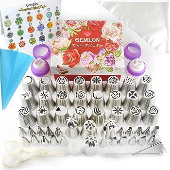 Gemlon Tips, Boquillas de flores - Kit de decoración grande - Suministros - Set de 88 suministros -49 glaseado 3 tubos rusos