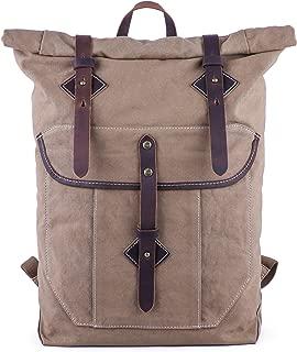 Gootium Roll-top Backpack - Canvas Outdoor Travel Rucksack, Coffee