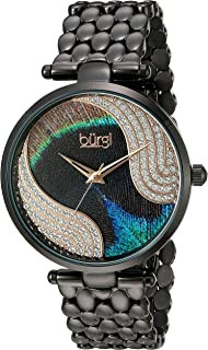 Burgi Women's BUR162 Genuine Swarovski Crystal Peacock Feather Pattern Dial with Case on Stainless Steel Bracelet Watch
