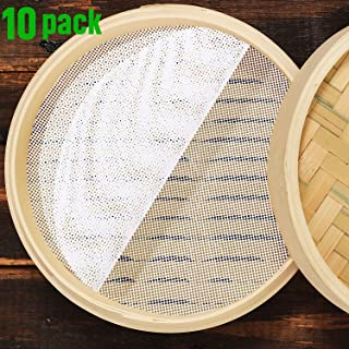 10 Almohadillas de Vaporera de Silicona Tapetes de Vapor Redonda de Silicona de 10 Pulgadas Almohadilla de Vapor Reutilizable para Bollos Malla Antiadherente Dim Sum para Hogar Albóndigas de Masa