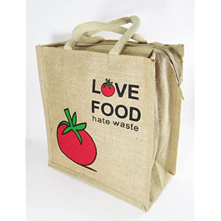 Classy Style Love Food Hate Waste Jute Lunch Bag (Multicolour)