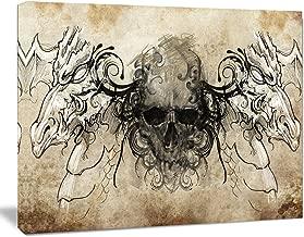 Design Art PT7820-20-12 Human Skull Tattoo Sketchdigital Art Canvas Print,,20x12