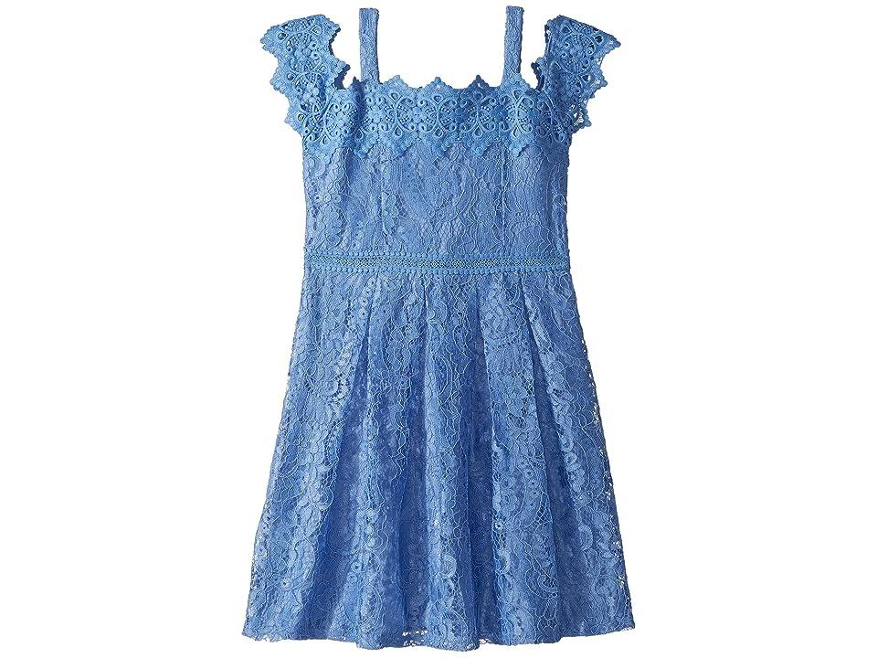 Us Angels Cold Shoulder Lace Dress (Big Kids) (Blue) Girl