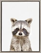 Kate and Laurel Sylvie Raccoon Framed Canvas Wall Art by Amy Peterson, 18x24, Gray