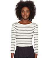 Vince - Chalk Stripe 3/4 Sleeve Crew Top