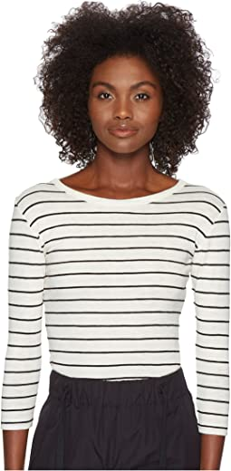 Vince Chalk Stripe 3/4 Sleeve Crew Top