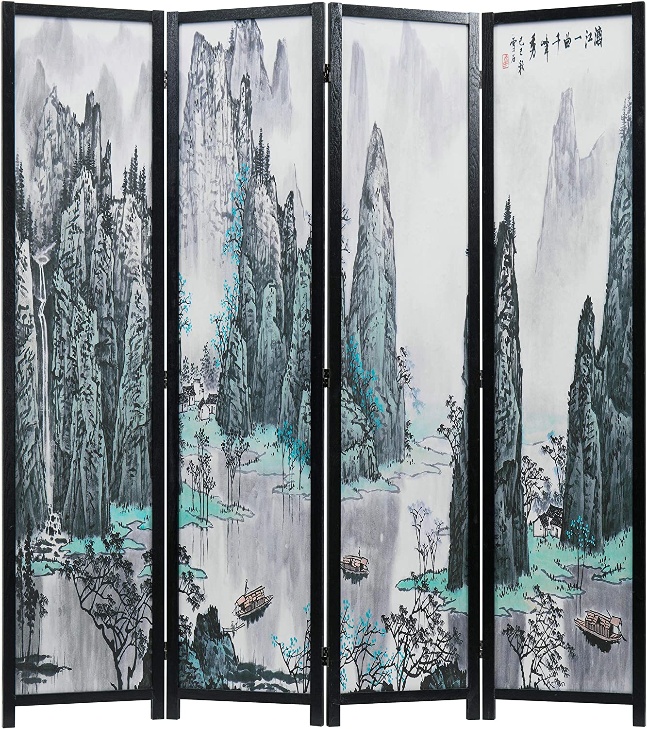 MyGift 4-Panel Finally popular brand Asian Watercolor Chinese Calli Landscape Product Oriental