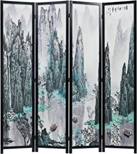 MyGift 4-Panel Asian Watercolor Oriental Landscape Chinese Calligraphy Room Divider with Wood Frame Screen