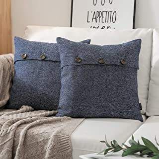 Phantoscope Farmhouse Throw Pillow Covers Triple Button Vintage Linen Decorative Pillow Cases for Couch Bed and Chair Navy Blue, 22 x 22 inches 55 x 55 cm, Pack of 2