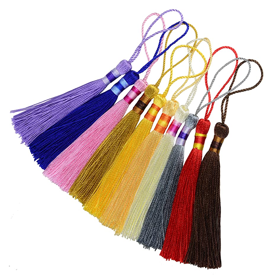 100pcs 5 Inch Silky Floss Bookmark Tassels with 2-Inch Cord Loop and Small Chinese Knot for Jewelry Making, Souvenir, Bookmarks, DIY Craft Accessory (Mixed10)