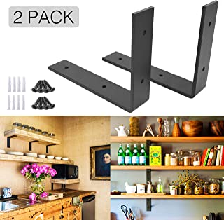 OVOV 2 Pack Iron Steel Shelf Bracket Heavy Duty Thicken L Floating Countertop Support Bracket for Wall Hanging Decorative with Free Hook Hanger (Black) 10
