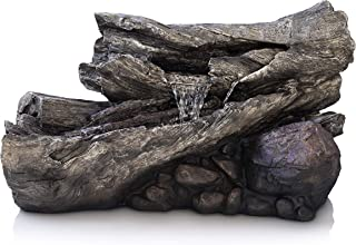 Alpine Corporation 3-Tier Fallen Tree Trunk Water Fountain with LED Lights - Outdoor Waterfall for Garden, Patio, Deck, Porch - Yard Art Decor