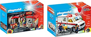 Playmobil Rescue Ambulance and Take Along Fire Station