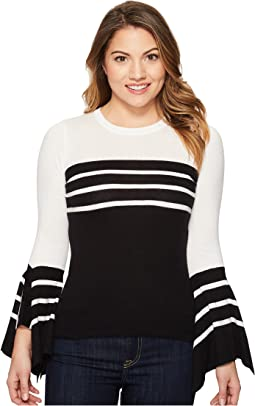 Vince Camuto Specialty Size - Petite Handkerchief Sleeve Striped Sweater