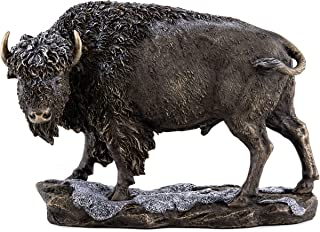 Top Collection Native American Great Plains Buffalo in Snow Statue- Wild Bison Winter Sculpture in Premium Cold Cast Bronze- 7-Inch Collectible Animal Figurine