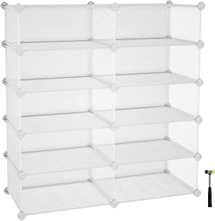 "SONGMICS 5-Tier Rack, Space Saving 20-Pair Metal Shoe Units, Cabinet Storage Organizer, Ideal for Entryway Hallway Bathroom Living Room and Corridor, 34.3""L x 12.6""W x 34.6""H White ULPL25W"