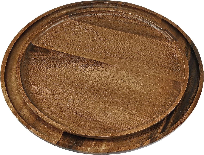 Now free Ranking TOP13 shipping Sleek Brown Aesthetic Circle Shaped Plate Tree Rain Natural Wood