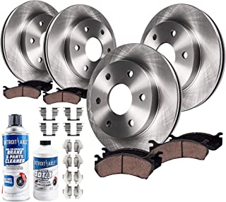 Detroit Axle - All (4) Front and Rear Disc Brake Rotors w/Ceramic Pads w/Hardware for 2005 2006 2007 2008 2009 2010-2017 Nissan Frontier V6 - [2005-2015 Xterra] - 2009-2012 Suzuki Equator