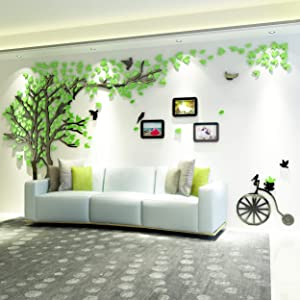 KINBEDY 3D Acrylic Black Tree Wall Stickers Photo Frames Family Tree Wall Decal Easy to Install &Apply DIY Photo Gallery Frame Decor Sticker Home Art Decor (Green-Left, Large).