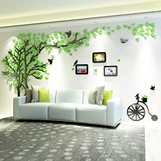 KINBEDY 3D Acrylic Black Tree Wall Stickers Photo Frames Family Tree Wall Decal Easy to Install &Apply DIY Photo Gallery Frame Decor Sticker Home Art Decor (Green-Left, Large)