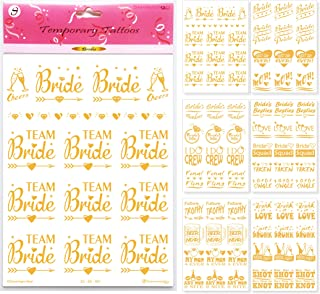 Bachelorette Party Fake Tattoos - Team Bride Tattoo Favors & Wedding Party Decorations - Bridal Shower Hen Party Gold Temporary Bridesmaid Stickers Accessories Bride Squad Bride Tribe - 75+(6 Sheets)