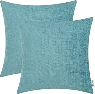 Best CaliTime Pack of 2 Cozy Throw Pillow Covers Cases for Couch Sofa Home Decoration Solid Dyed Soft Chenille 18 X 18 Inches Teal Review