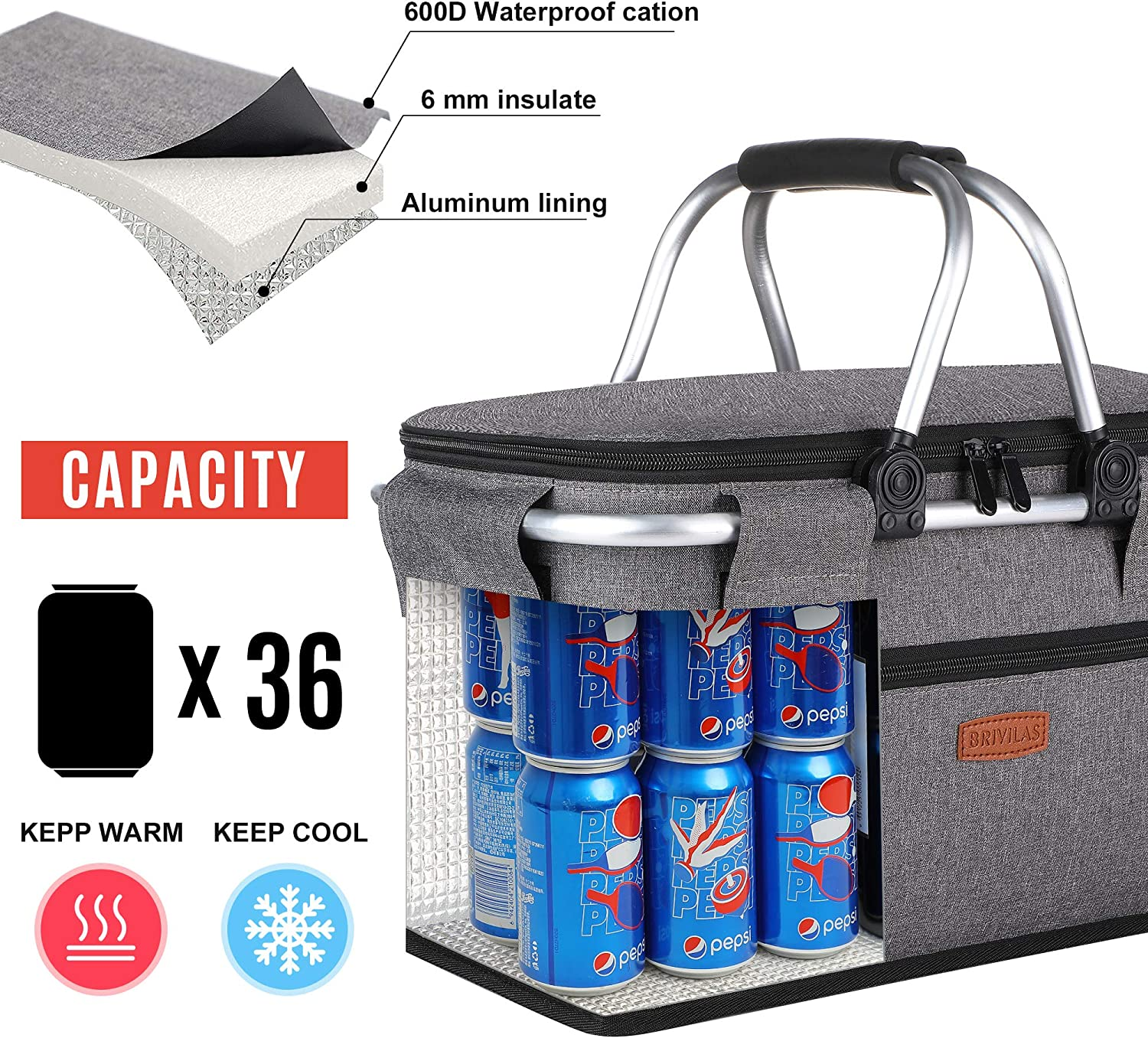 Travel Music Festival BRIVILAS Insulated Picnic Baskets-Collapsible Cooler Bag-Large Portable Laundry Basket//Grocery Bag Basket with Aluminium Handles for Shopping Camping Black