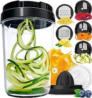 Fullstar Vegetable Spiralizer Vegetable Slicer - 8-in-1 Zucchini Spaghetti Maker Zoodle Maker Veggie Spiralizer - Zucchini Noodle Maker Spiralizer Handheld Cheese Grater Zester Lemon Squeezer
