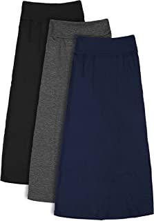 Free to Live 3 Pack Girls 7-16 Years Old Maxi Skirts - Great for Uniform