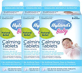 Hyland's Baby Calming Tablets, Natural Relief Of Fussy and Sleepless Babies, 125 Count (Pack of 3)
