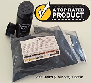Hair Building Fibers 200 Grams 7 Oz. With Bottle By Finally Hair 50g4 (Light Medium Brown - our lightest brown shade)