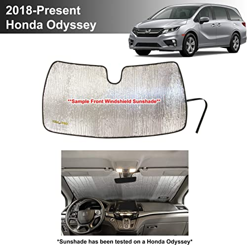 wholesale YelloPro Custom Fit Automotive Reflective Front Windshield high quality Sunshade Accessories UV Reflector Sun Protection for 2018 2019 2020 2021 Honda Odyssey LX, EX, EX-L, Touring, Elite high quality Minivan outlet online sale