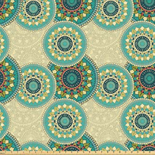 Ambesonne Mandala Fabric by The Yard, Moroccan Culture Theme Traditional Nature Garden Inspired Round Motifs, Stretch Knit Fabric for Clothing Sewing and Arts Crafts, 10 Yards, Multicolor