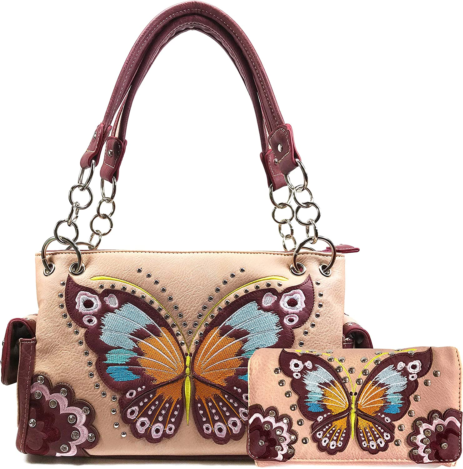 Zelris Peacock Butterfly 購入 Floral Embroidery Carry Conceal H Women 激安通販販売