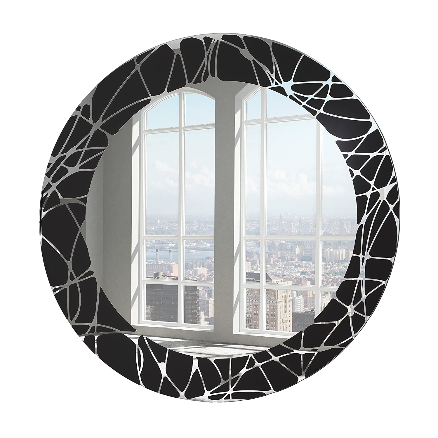 Buy Breeze Point M00162 24 Diam Round Beveled Frameless Decorative Glass Wall Mirror With Black Abstract Shapes Pattern Border Black Online At Low Prices In India Amazon In