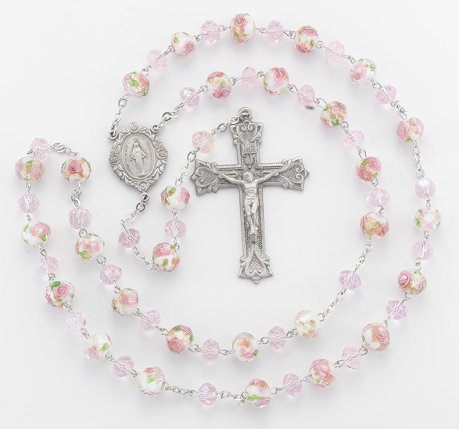 (5 7 18) BERTOF BT-PR-110 Pewter pinkry White Pink Glass Flower Beads Beads WITH 100% Pewter Center and Crucifix Hand Made USA Copyrighted Paul Herbert Blessing PEWTARA Series