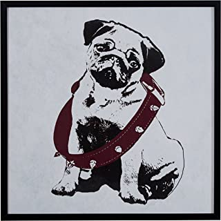 Rivet Puppy Eyed Dog in Burgundy Collar Print Wall Art in Black Frame, 30.5