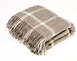 Bronte by Moon Natural Collection - Pure New Wool - Windowpane - Beige - Throw Blanket