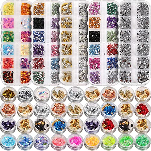 5 Box 11440pcs Nails Rhinestones and 36 Pots Foils Flakes, Teenitor Professional Nail Decoration with Gems for Nails ...
