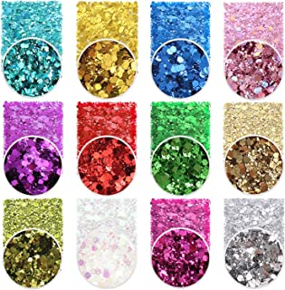 Holographic Chunky Glitter Sequins 12 Colors Mixed Laser Cosmetic Glitter for Face Body Eye Hair Nail Art Lip Gloss, Festi...