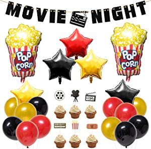 BeYumi 45 Packs Movie Night Theme Party Decorations Kit - Popcorn Star-Shaped Foil Balloons, Latex Balloons with Ribbon, Movie Night Felt Banner, Cupcake Toppers Set for Hollywood Oscar Awards Ceremony