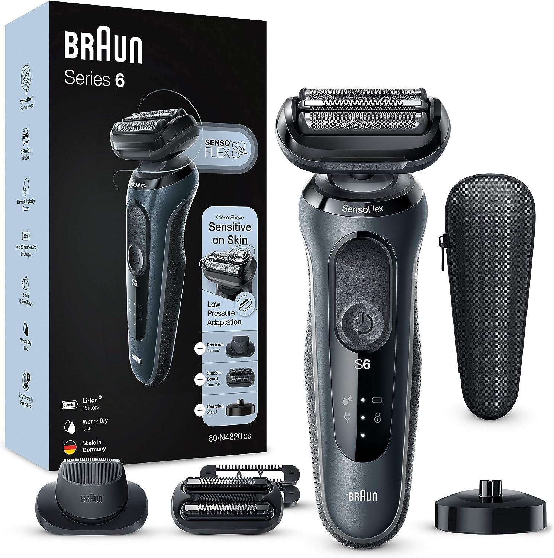 Braun Series 6 Afeitadora Eléctrica Hombre, Máquina de Afeitar Barba, Recortadora de Precisión, Cabezal SensoFlex, Base de Carga, Funda, Recargable, Resistente al Agua e Inalámbrica, 60-N4820 CS, Gris